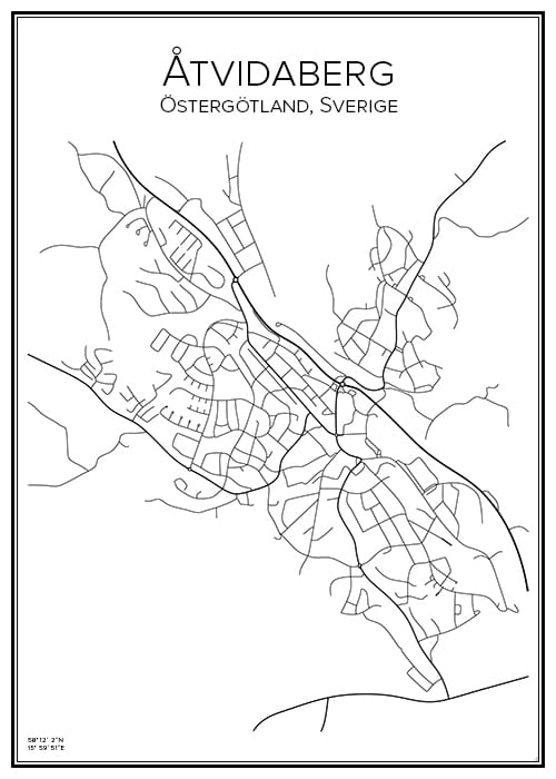 Stadskarta över Åtvidaberg