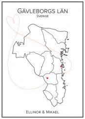 Kärlekskarta över Gävleborg