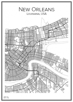 Stadskarta över New Orleans