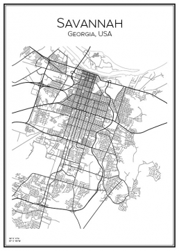 Stadskarta över Savannah