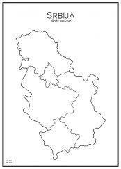 Stadskarta över Serbien