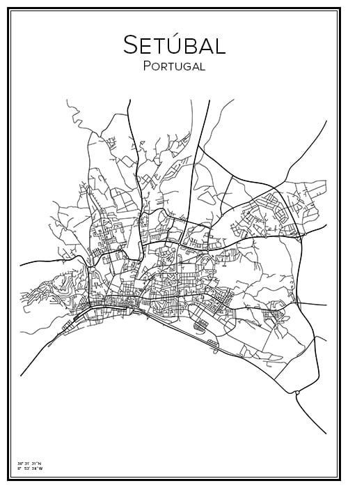 Stadskarta över Setúbal