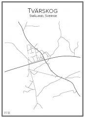 Stadskarta över Tvärskog