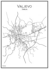 Stadskarta över Valjevo