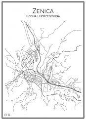 Stadskarta över Zenica