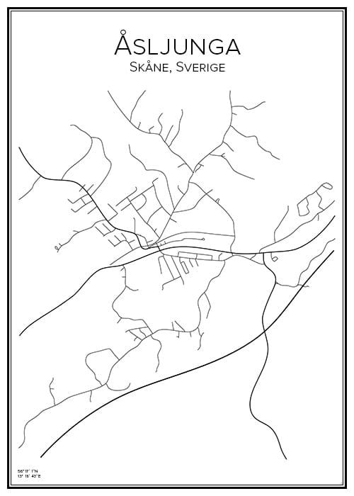 Stadskarta över Åsljunga