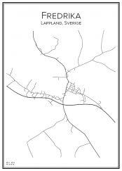 Stadskarta över Fredrika