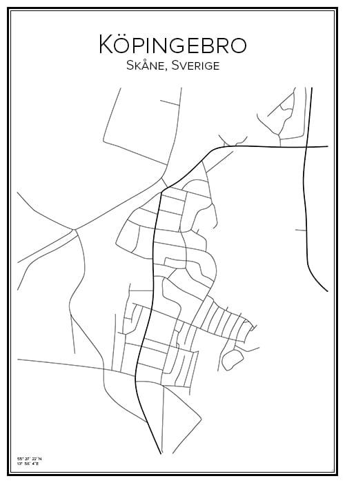 Stadskarta över Köpingebro