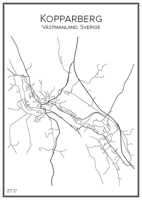 Stadskarta över Kopparberg