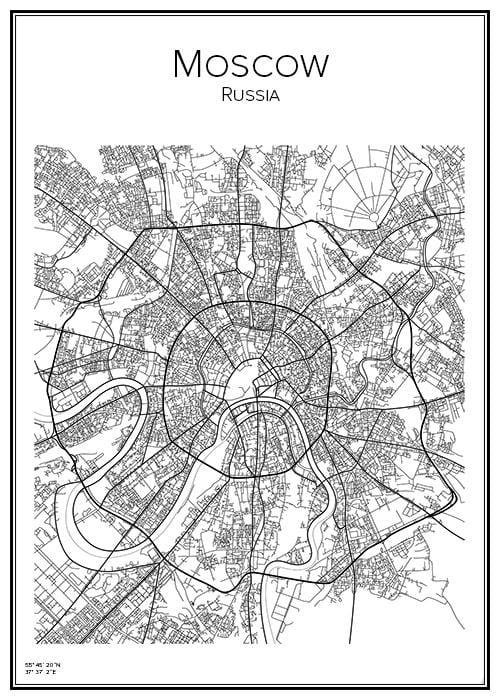 Stadskarta över Moskva