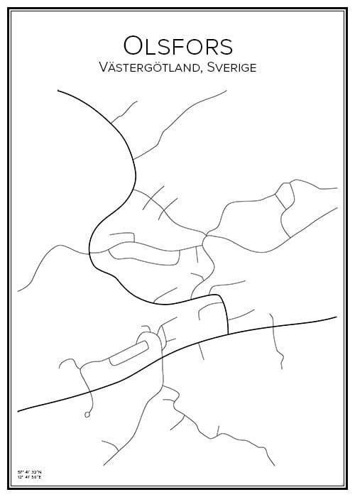 Stadskarta över Olsfors