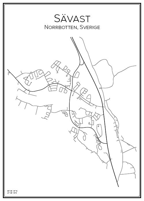 Stadskarta över Sävast