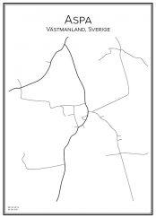 Stadskarta över Aspa