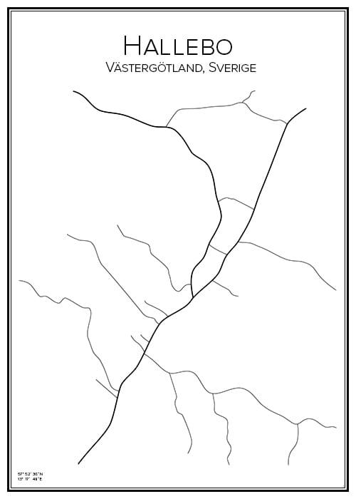 Stadskarta över Hallebo
