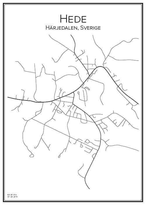 Stadskarta över Hede