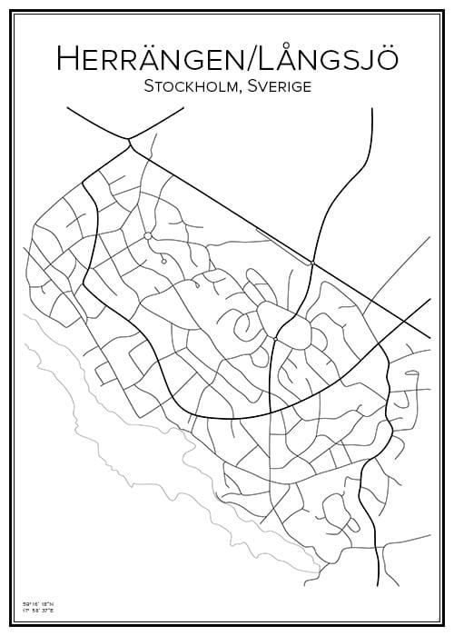 Stadskarta över Herrängen/Långsjö