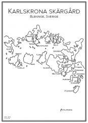 Stadskarta över Karlskrona skärgård