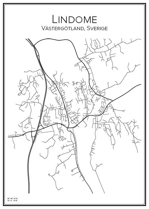 Stadskarta över Lindome
