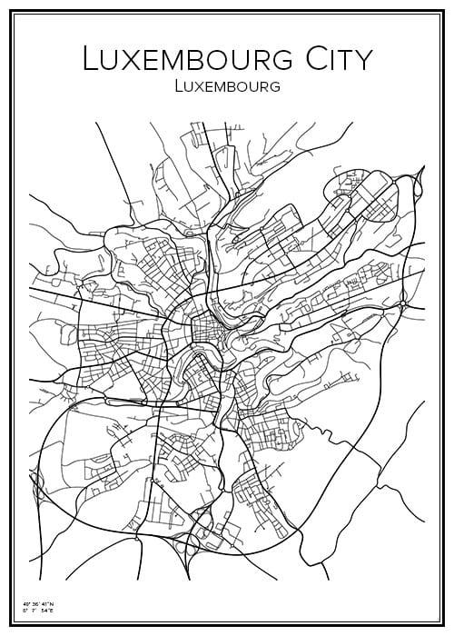 Stadskarta över Luxembourg City