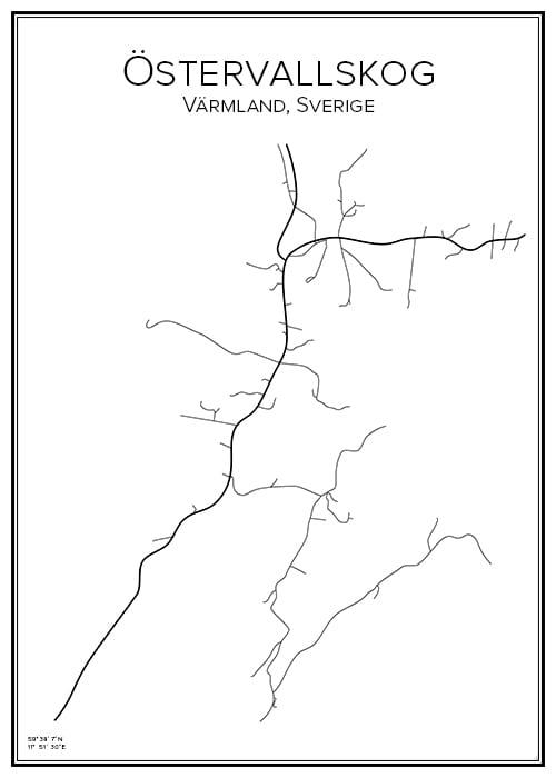 Affich över Östervallskog