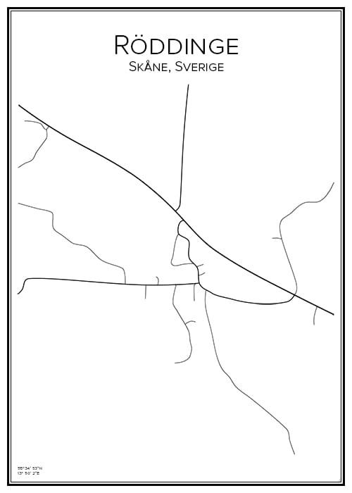 Stadskarta över Röddinge