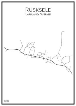 Stadskarta över Rusksele