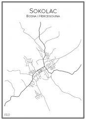 Stadskarta över Sokolac