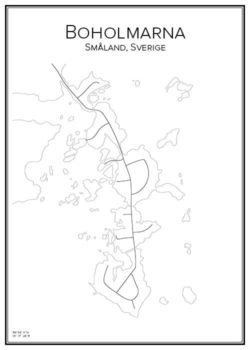 Stadskarta över Boholmarna