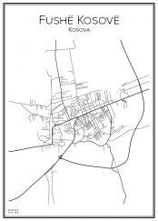 Stadskarta över Fushë Kosovë