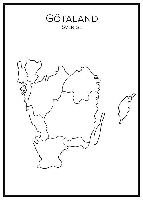 Stadskarta över Götaland