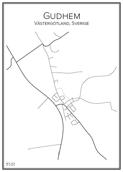 Stadskarta över Gudhem