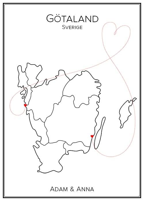 Kärlekskarta över Götaland