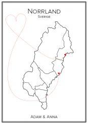Kärlekskarta över Norrland