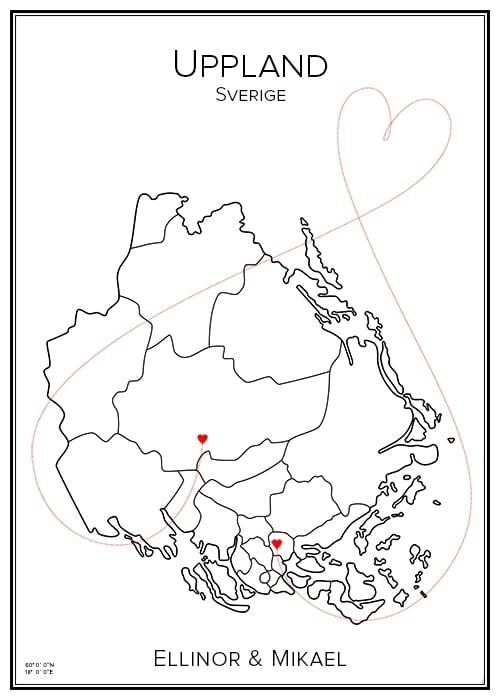 Kärlekskarta över Uppland
