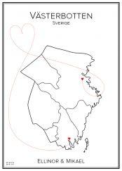 Kärlekskarta över Västerbotten