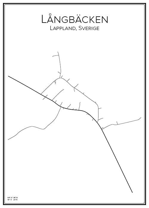 Stadskarta över Långbäcken