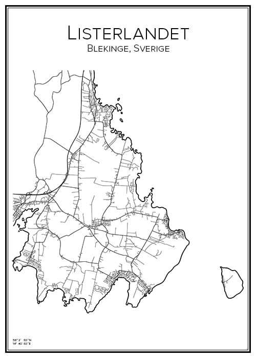 Stadskarta över Listerlandet