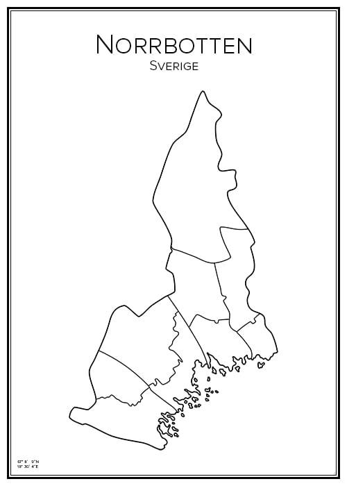 Stadskarta över Norrbotten