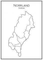 Stadskarta över Norrland