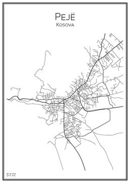 Stadskarta över Pejë