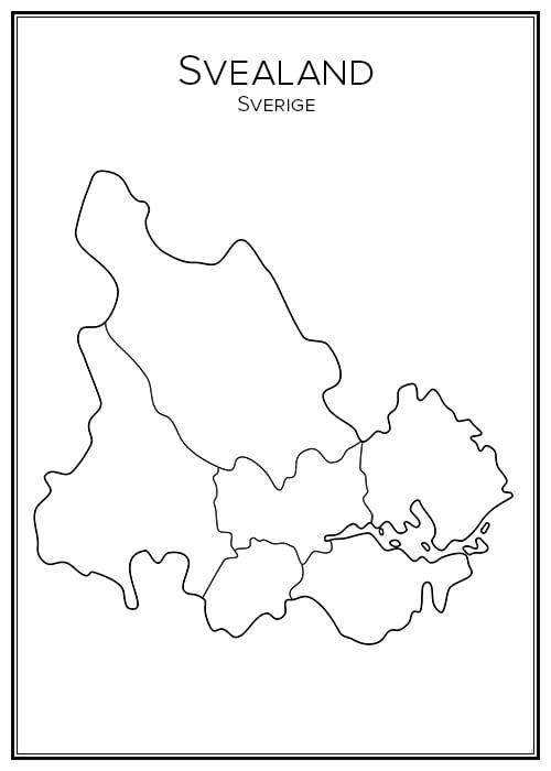 Stadskarta över Svealand