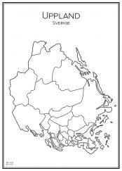 Stadskarta över Uppland