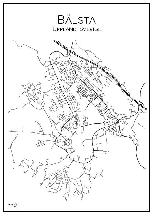 Stadskarta över Bålsta