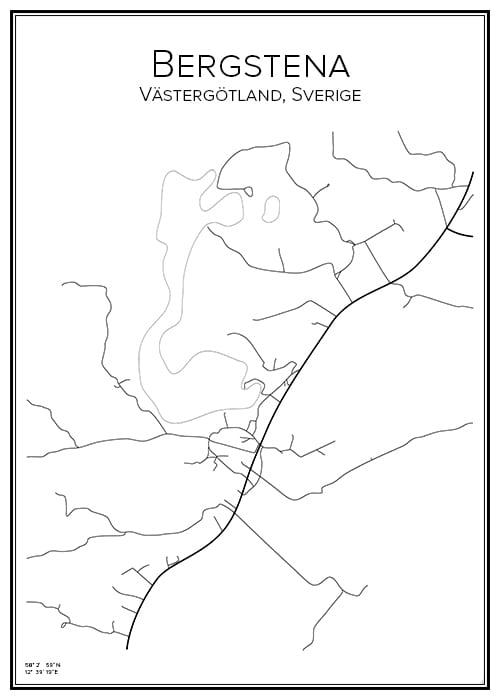 Stadskarta över Bergstena