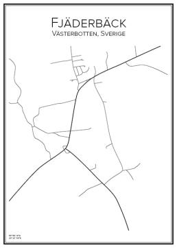 Stadskarta över Fjäderbäck