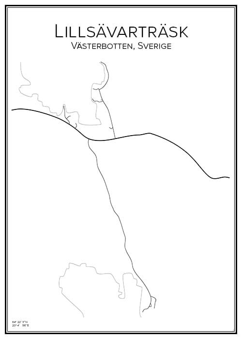 Stadskarta över Lillsävarträsk