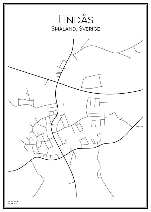 Stadskarta över Lindås