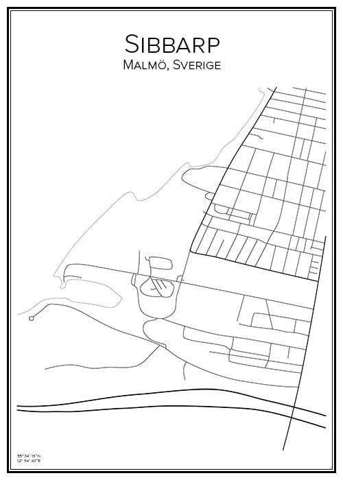 Stadskarta över Sibbarp