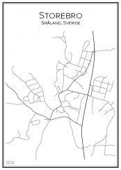 Stadskarta över Storebro