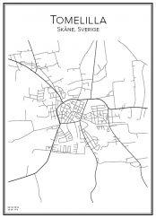 Stadskarta över Tomelilla